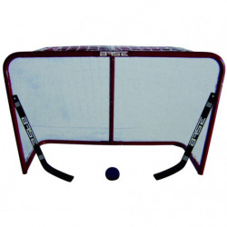 Base metal hockey goal with two mini sticks and a ball